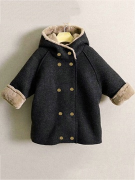 Ericdress Hooded Double-Breasted Thick Boy's Overcoat