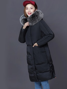 Ericdress Fur Zipper Long Thick Coat