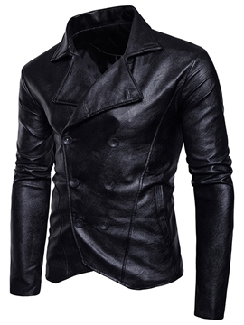 Ericdress Double-Breasted Lapel Vogue PU Men's Jacket