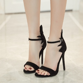 Ericdress Rhinestone Buckle Plain Stiletto Sandals