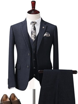 Ericdress Lapel Wedding Stripe Three Pieces Men's Suit