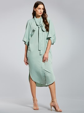 Ericdress Stand Collar Batwing Sleeve Women's Day Dress