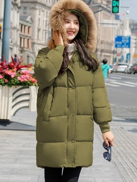 Ericdress Oversized Plain Mid-Length Thick Coat