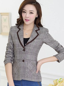 Ericdress Slim Plaid Single-Breasted Blazer