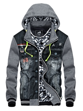 Ericdress Hooded Patchwork Men's Jacket