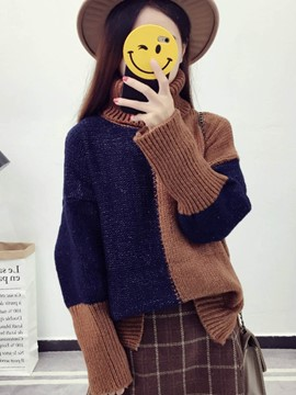 Ericdress Patchwork Color Block High Neck Sweater
