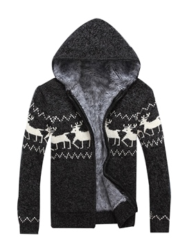 Ericdress Hooded Print Zipper Men's Cardigan Sweater