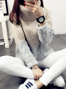Ericdress Color Block High Neck Sweater