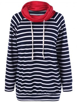Ericdress Stripe Heap Collar Mid-Length Sweatshirt