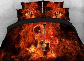 Vivilinen 3D Fiery Guitar and Skull Printed Cotton 4-Piece Bedding Sets/Duvet Covers