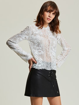Ericdress Stand Collar Hollow Lace Women's Blouse