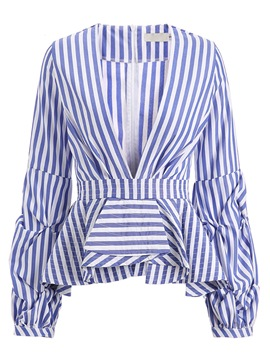 Ericdress V-Neck Stripe Ruffles Shirt