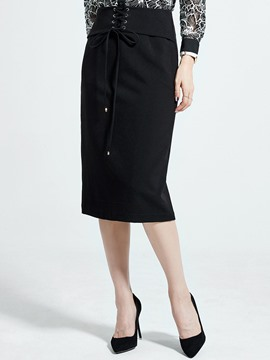 Ericdress Lace-Up Plain Women's Skirt