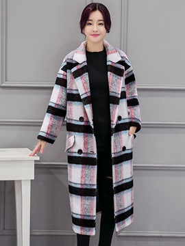 Ericdress Long Plaid Double-Breasted Thick Coat
