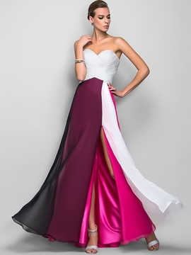 Ericdress Strapless Expansion Color Block Maxi Dress