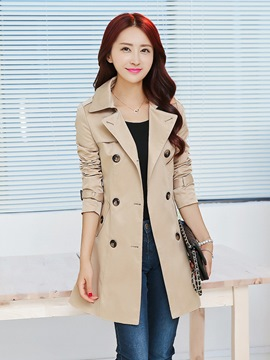 Ericdress Double-Breasted Slim Mid-Length Trench Coat