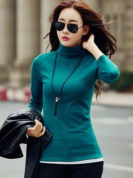 Ericdress Plain Turtleneck Slim T-shirt