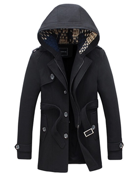 Ericdress Hooded Solid Color Belt Men's Trench Coat