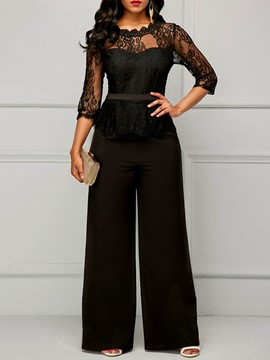 Ericdress Slim Lace Wide Leg Women's Jumpsuit