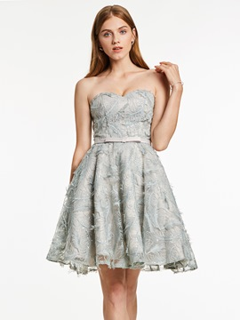 Ericdress sweetheart lace-up une robe de cocktail ligne