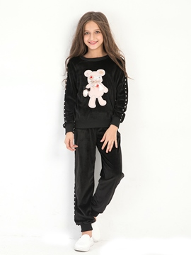 Ericdress Chic Black Animal Embroidery Girl's Outfit