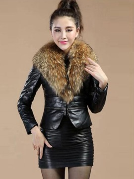Ericdress Fur Plain PU Bomber Jacket
