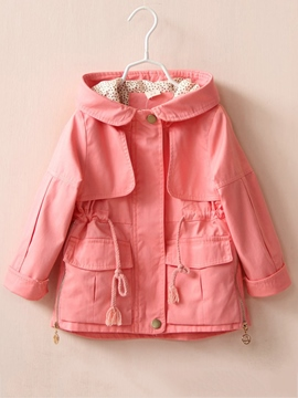 Ericdress Pink Hooded Zipper Girl's Coat