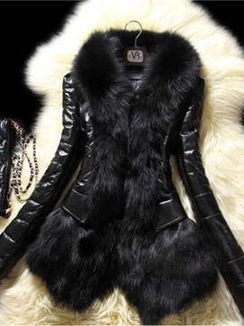 Ericdress Plain Fur Leather PU Coat
