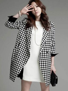 Ericdress Lapel Mid-Length Houndstooth Coat