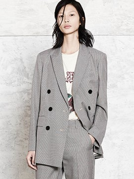 Ericdress Mid-Length Double-Breasted Houndstooth Blazer