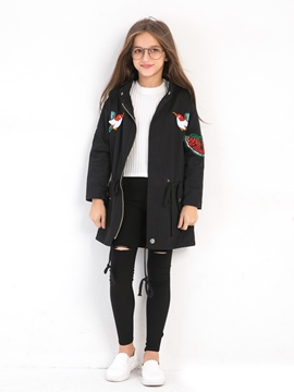 Ericdress Animal Embroidery Zipper Mid-Length Girl's Overcoat
