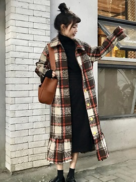 Ericdress Long Plaid Loose Single-Breasted Coat