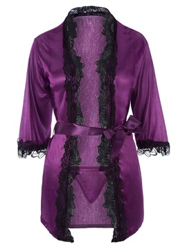 Ericdress Half Sleeve Cardigan Meryl Robe with Thong