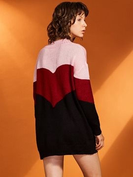 Ericdress Stand Collar Color Block Pullover Women's Sweater