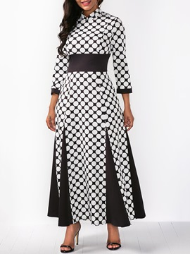 Ericdress Expansion Polka Dots Farbblock Maxi-Kleid