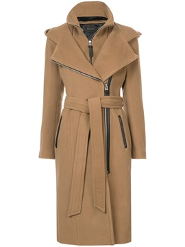 Ericdress Plain Zipper Belt Long Coat