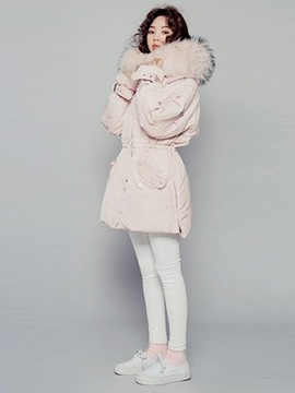 Ericdress Plain Fur Mid-Length Thick Coat