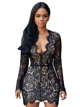 Ericdress Backless Long Sleeve Lace Bodycon Dress