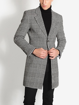 Ericdress Plaid Notched Lapel Slim Men's Trench Coat