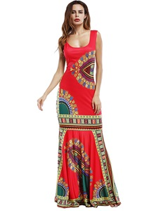 Ericdress Print Mermaid Floor-Length Maxi Dress