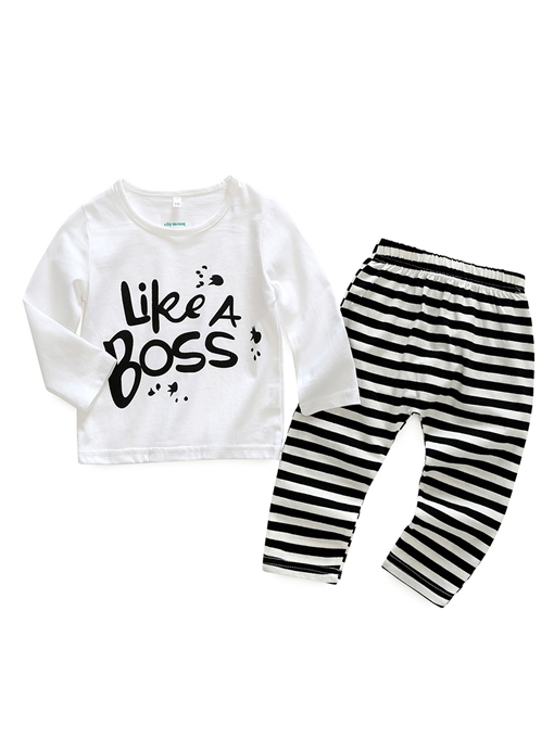 Ericdress Letter Print T-Shirt & Stripe Pants Baby Boy's Outfit