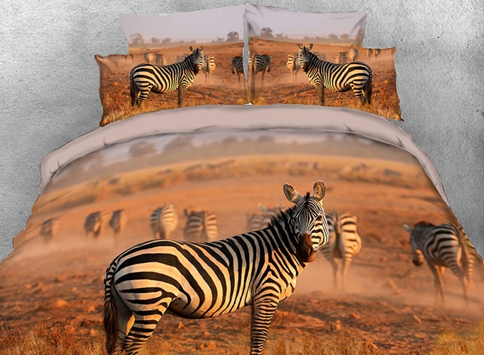 Vivilinen 3D Tropical Zebra Printed 4-Piece Bedding Sets/Duvet Covers