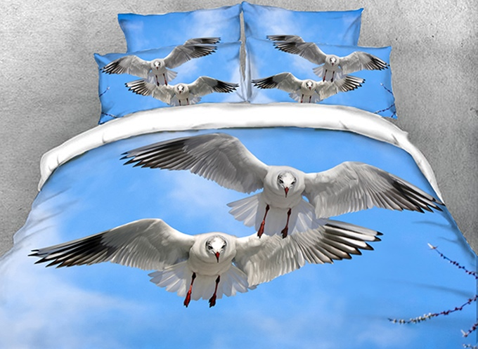 Vivilinen 3D Seagulls Flying in Blue Sky Cotton 4-Piece Bedding Sets/Duvet Covers