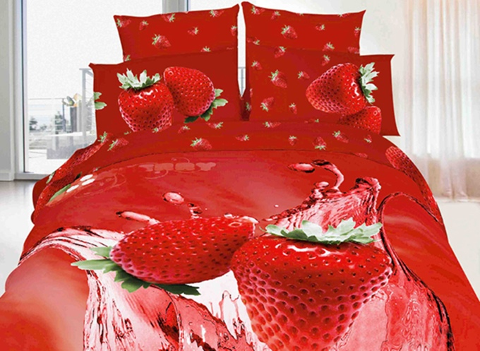 3D Tempting All Red Strawberries Print Duvet Cover Sets