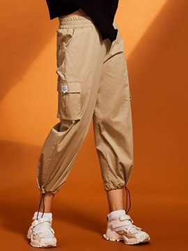 Pocket Patchwork Wide Legs Women's Pants