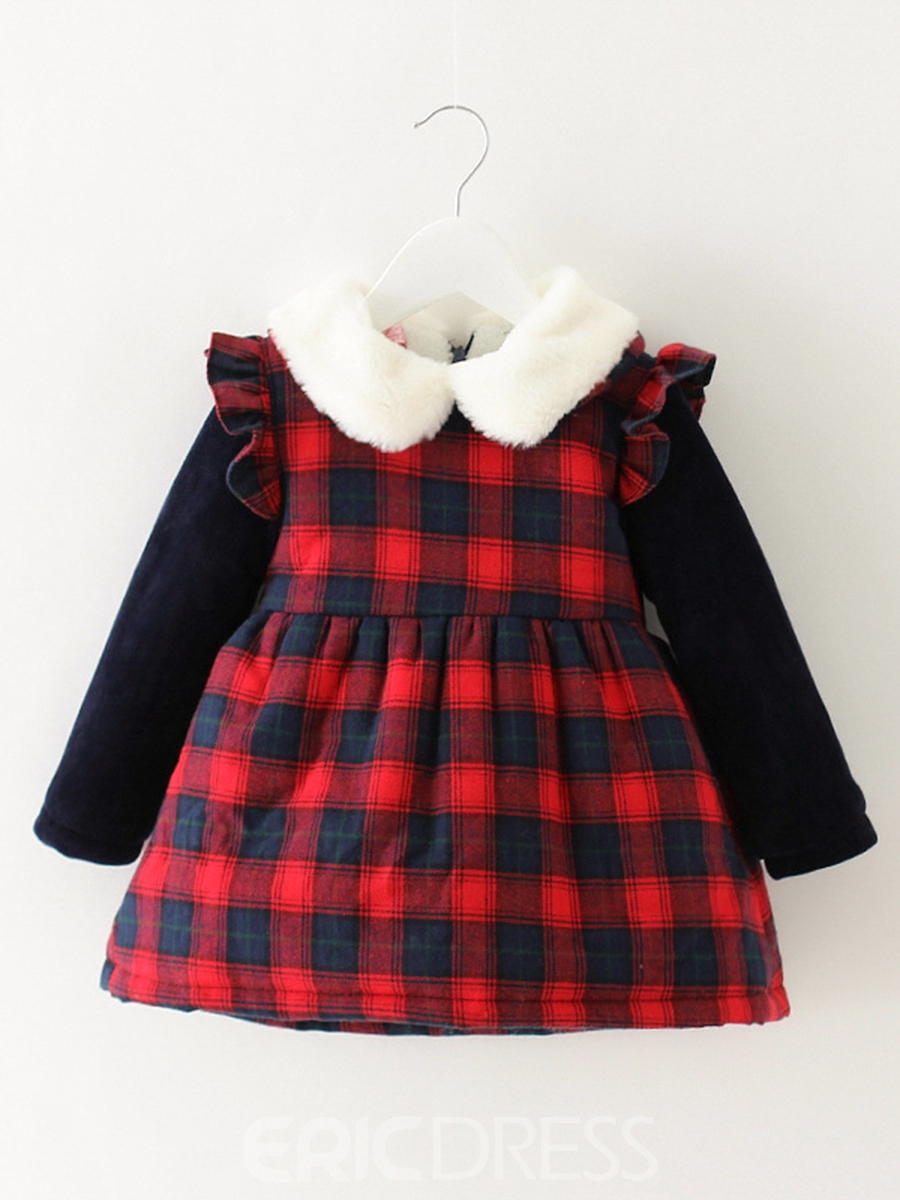 Ericdress Plaid Peter Pan Collar Thick Baby Girl's A-Line Dress
