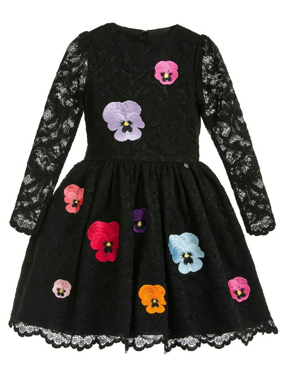 Ericdress Lace Hollow Flower Embroidery Girl's Princess Dress