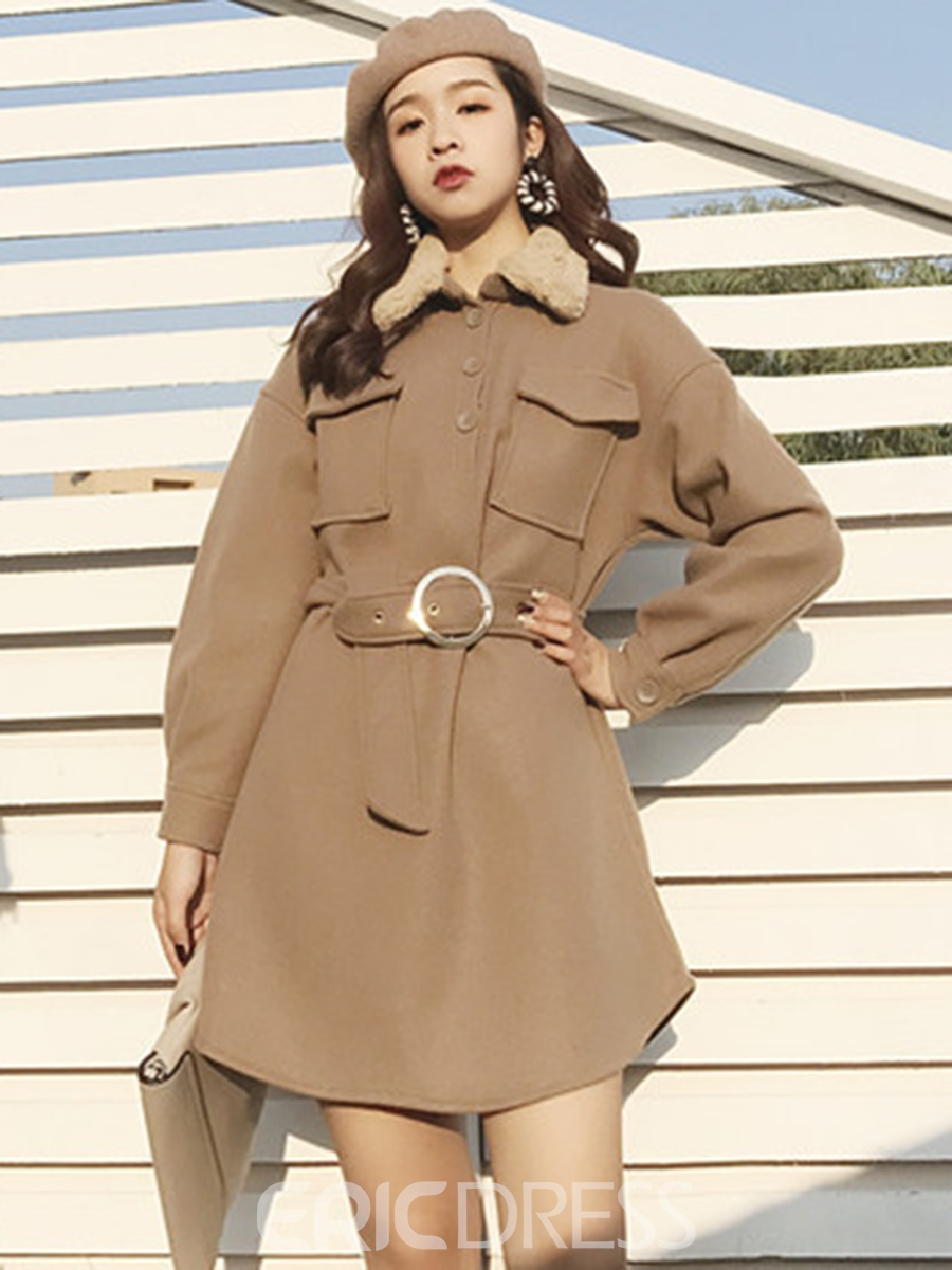 Ericdress Long Sleeve Belt Pocket Patchwork Winter Casual Dress