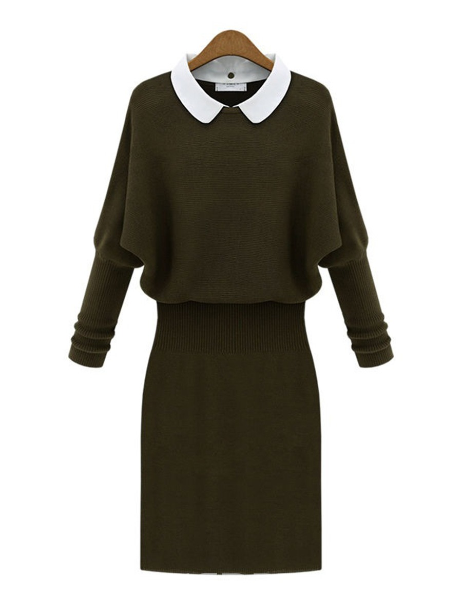 Ericdress Pullover Batwing Long Sleeve Bodycon Sweater Dress