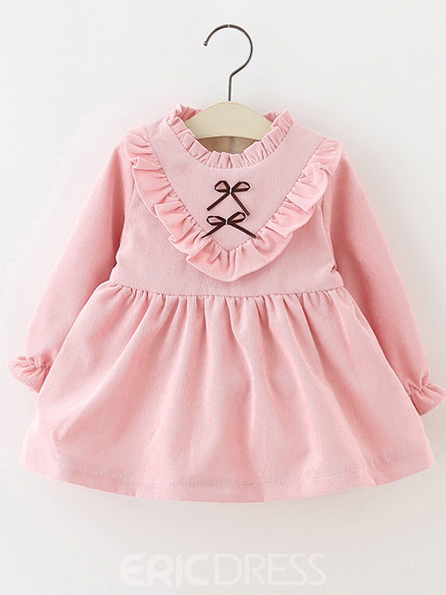 Ericdress Plain Ruffles Zipper Baby Girl's A-Line Dress